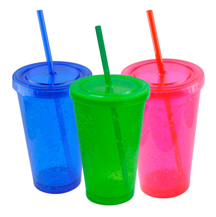 Insulated Party Cup - Gel Double Wall Tumbler with Straw