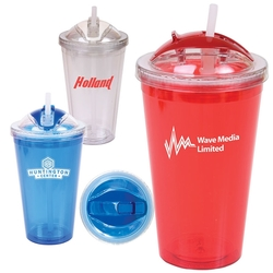 16 oz. Double Wall Acrylic Tumbler w/ Dome Lid & Straw