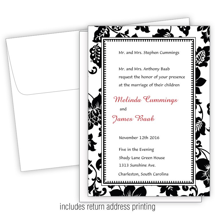 5x7 Wedding Invitation with Printed Envelopes