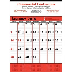 Commercial Planner Wall Calendar - Red & Black - Red & Black