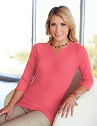 Lilac Bloom 95% cotton/5% spandex jersey split neck knit shirt with ¾ sleeves. - SOFIA