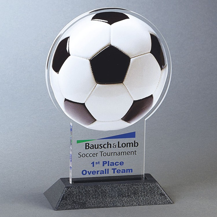 SOCCER BALL Snappy up to 24 sq.in. Any Shape Acrylic In A Base