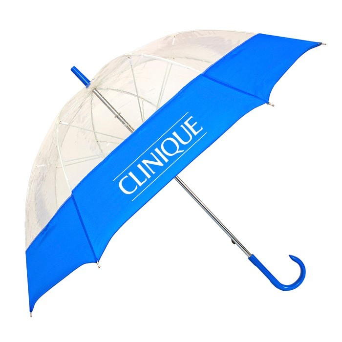 54 Inch Bubble Fashion Umbrella with Clear Canopy - CLOSEOUT Royal Blue