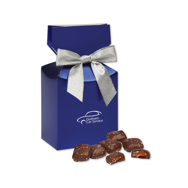Blue gift box with your logo & Chocolate Sea Salt Caramels