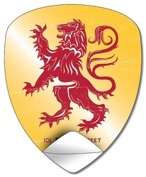 Sticker / Decal - 4x4.9 Inch Shield or Crest Shape - UV Coated Removable Vinyl Misc