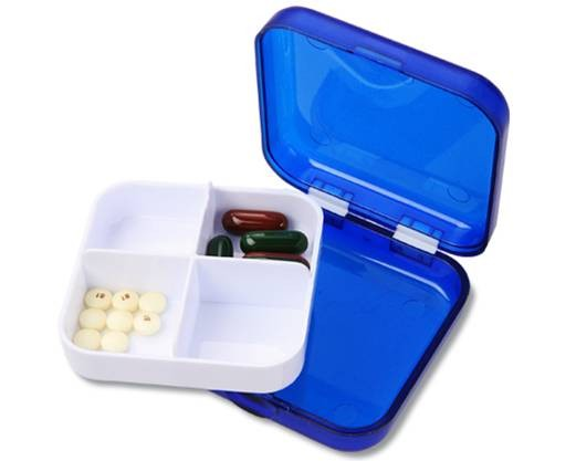 Pill Box with a 4 Compartment Tray