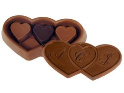 6 oz. Custom Triple Chocolate Heart Box with Stock Hearts