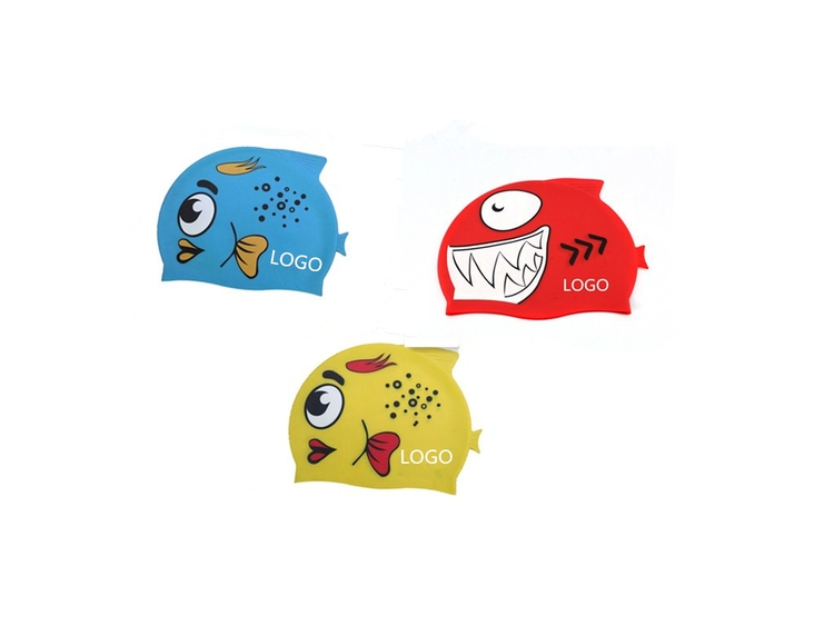 Waterproof Silicone Fish Shaped Swimming Cap For Kids Hpk090