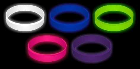 1 Glow In The Dark Debossed Color Fill Silicone Wristband