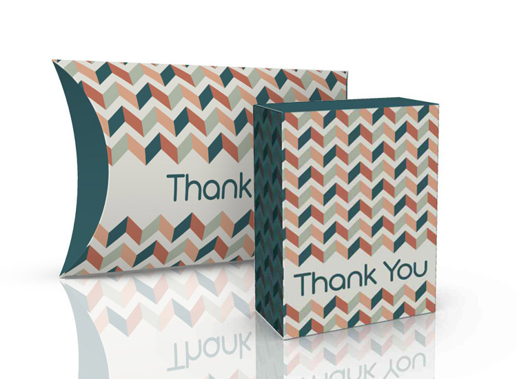 Gift boxes for thank you kits. Tuck box and pillow pack.