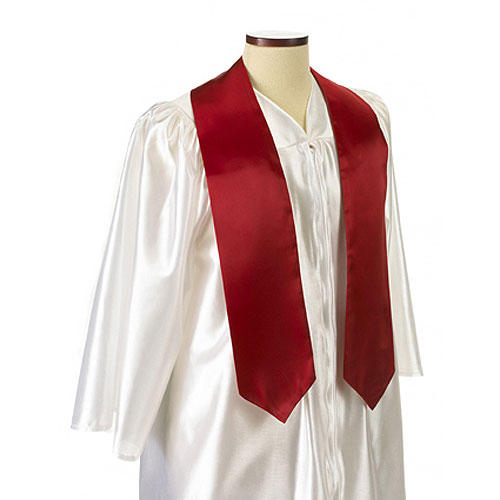 Red Polyester Satin Graduation Sash / Stole