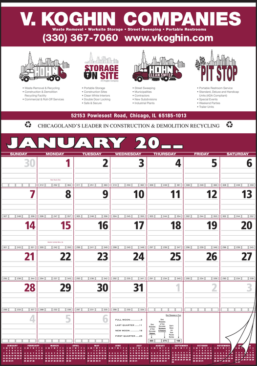 Style 78 Contractor's Bid Twelve Sheet Calendar