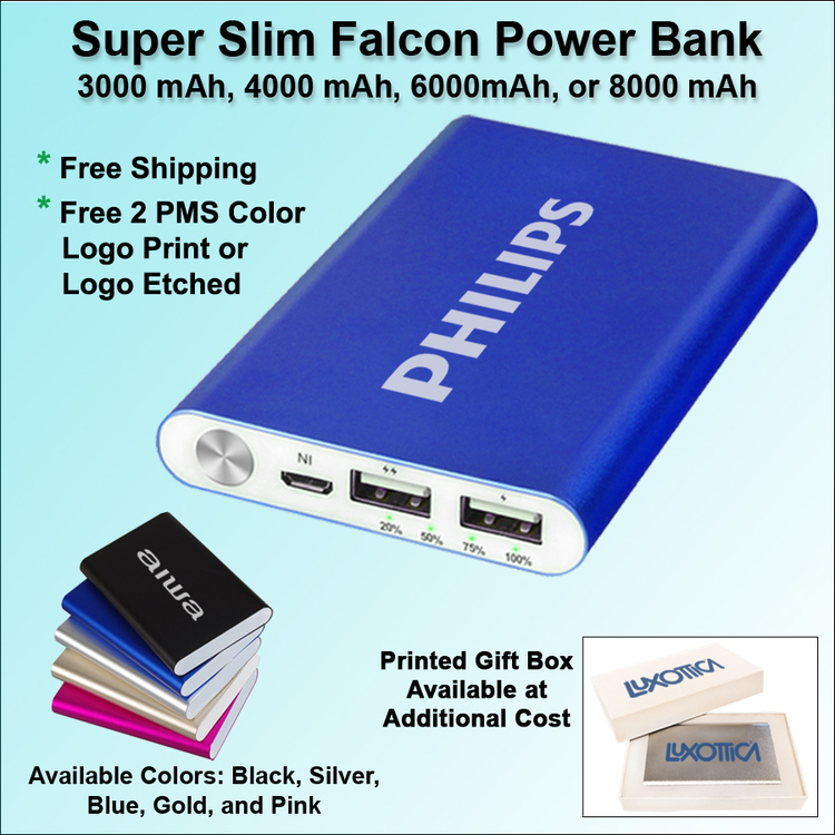 Super Slim Falcon Power Bank - 8000 mAh - Free Shipping, Free Setup!