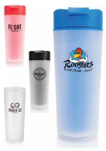 16 oz Rockford Frosted Plastic Travel Mug