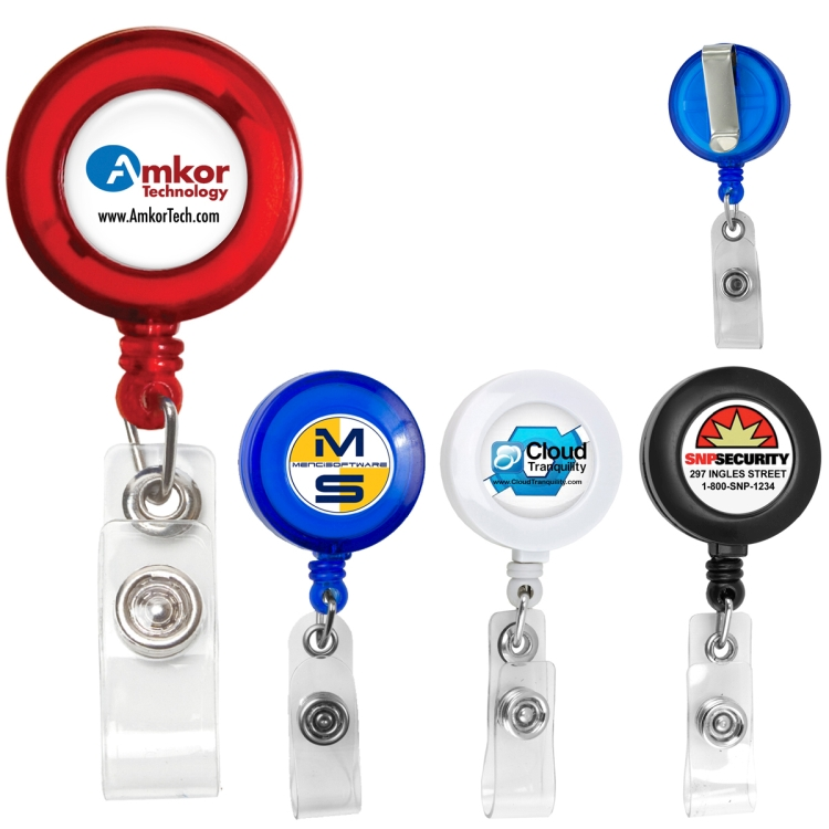 "30"" Cord Round Retractable Badge Reel with Metal Slip Clip Backing and Badge Holder(Photoimage)"