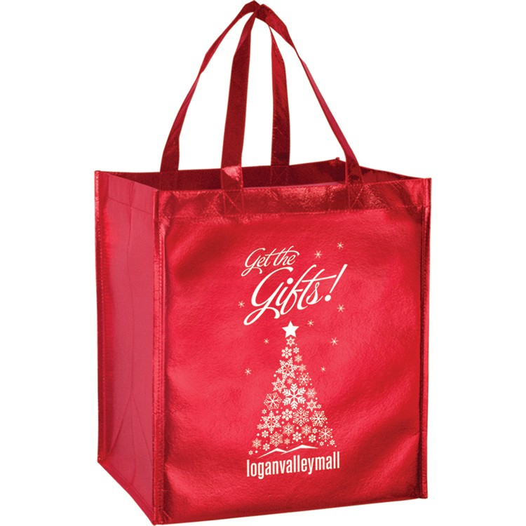 Non-woven Metallic Laminated Polypropylene Grocery Tote - Smooth Finish - LM131015 - Silk Screened (Laminated Inks Only)