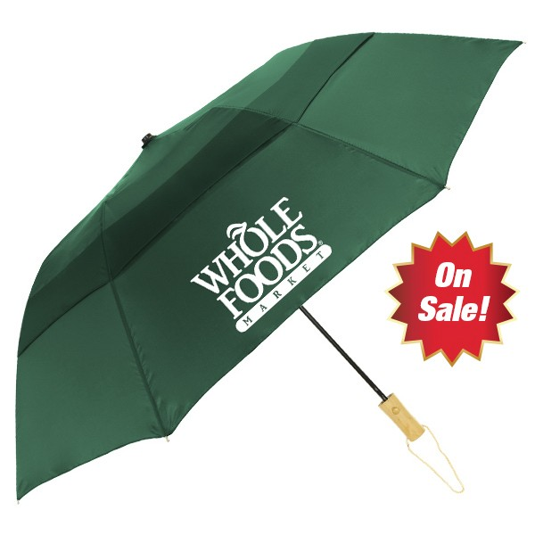 46 Inch Wood Handle Auto Open Vented Folding Umbrella SALE