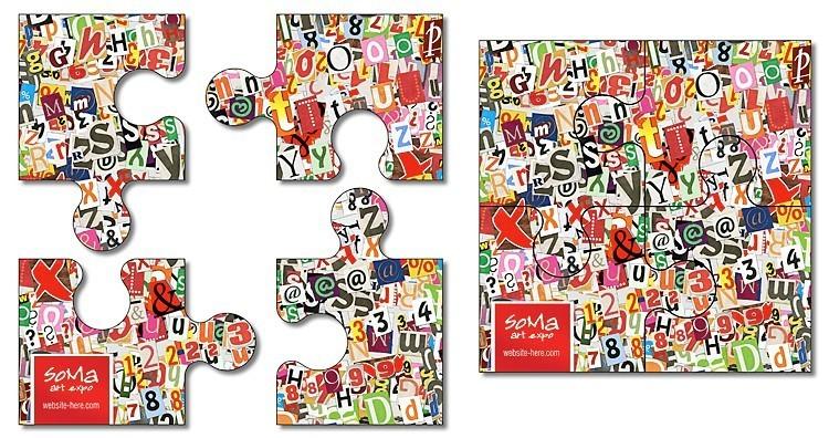 Magnet - 4 Piece Puzzle Shape (3.5x3.5) - 30 mil.