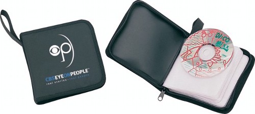 Polyester 24 CDs holder with handle, full zippered closure