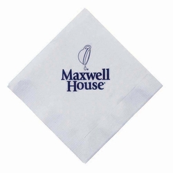 3-Ply White Napkins-White Beverage Folded 5 x 5 Open 10 x 10