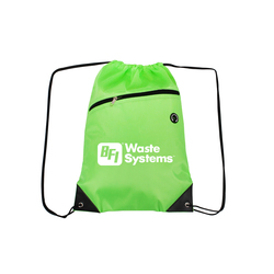 Lime GreenDrawstring Backpacks with Front Zipper Pocket