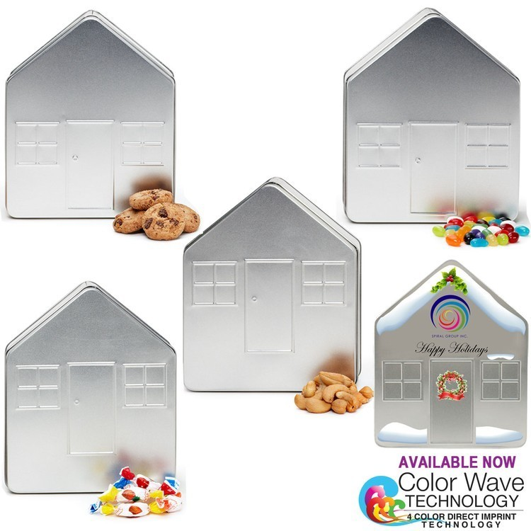 House Shape Tin Box Large Filled With Cookies