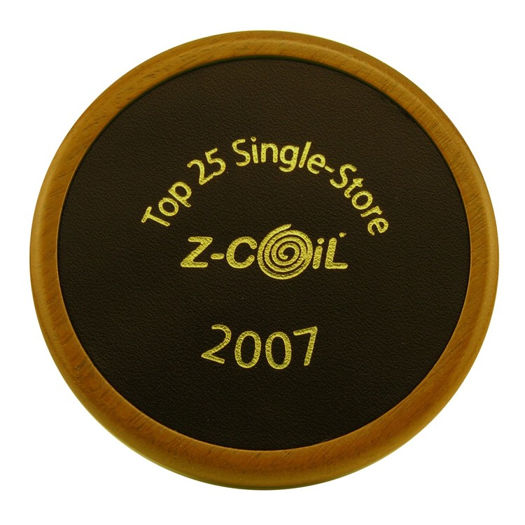 Round Wood Coaster with Leather Inlay