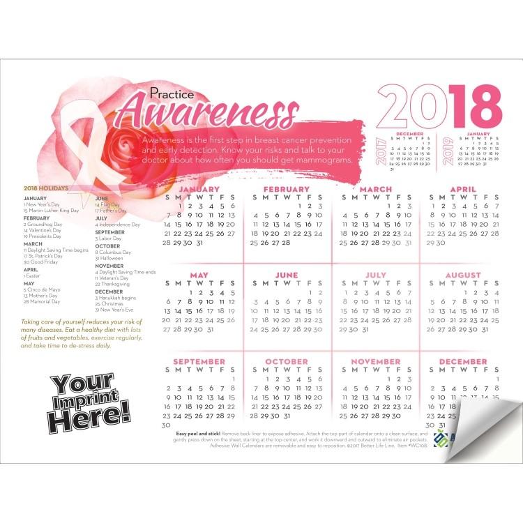Breast Cancer Awareness Calendar 2019 Adhesive Wall Calendar   2018 Practice Awareness (Breast Cancer