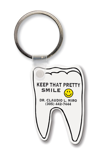 Key Tag - Tooth - Spot Color - Budget friendly key chain / ring / holder and key accessories for auto, car, house or automotive dea