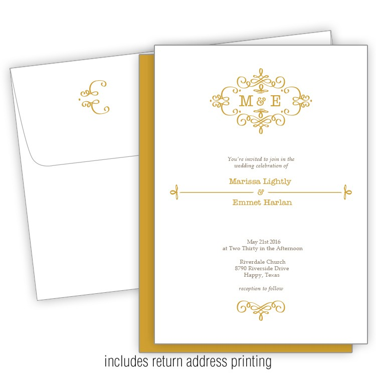 Golden Afternoon - 5x7 Wedding Invitation with Printed Envelopes ...
