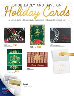 Christmas card sales flyer from Warwick
