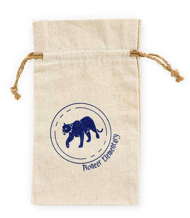 REBEL Rough 100% Natural Cotton Drawstring Bag w hemp drawstring 8x10 (LINEN TEXTURE)