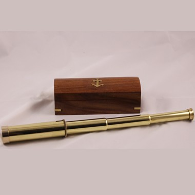 4 Section Brass Telescope w/ Piano Finish Wood box