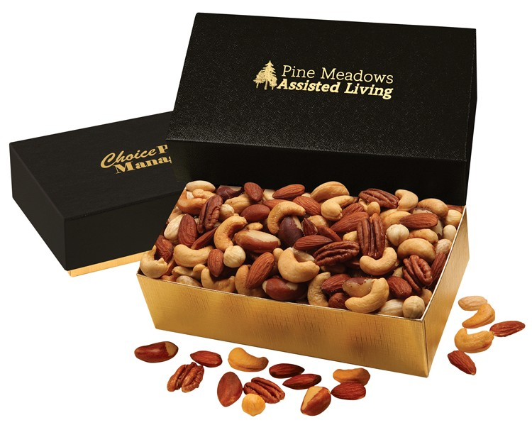 SALE! - Deluxe Mixed Nuts in Black & Gold Gift Box