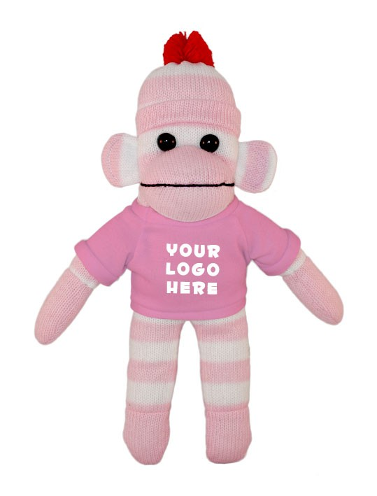 Pink Sock Monkey (Plush) with tee Stuffed Animal