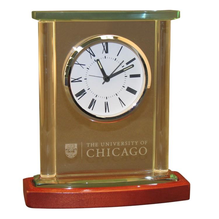 Twin Pillar Glass & Wood Clock with Beveled Cap