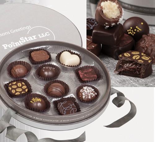 Belgian Chocolate Truffles in Custom Imprinted Box