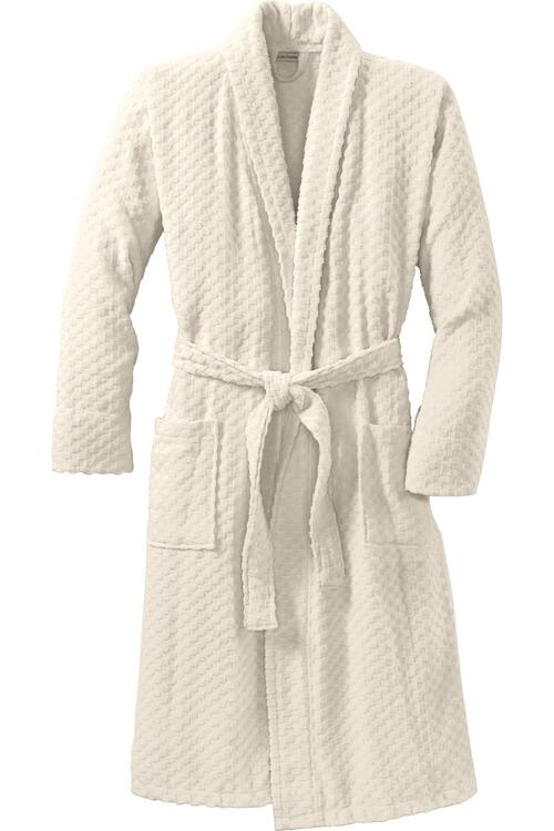 Port Authority Checkered Terry Shawl Collar Robe.