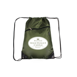 Army GreenDrawstring Backpacks with Front Zipper Pocket