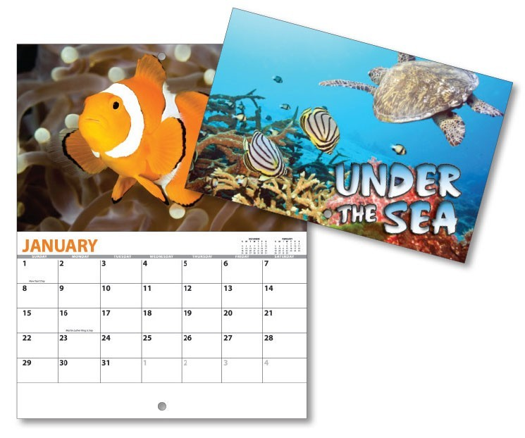 13 Month Mini Custom Photo Appointment Wall Calendar - UNDER THE SEA