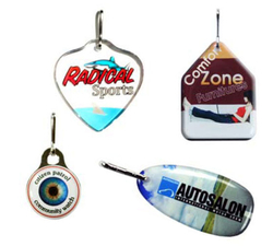 Zipper Pull Charms / Tag with double sided custom shape Up to 1 Sq. In.