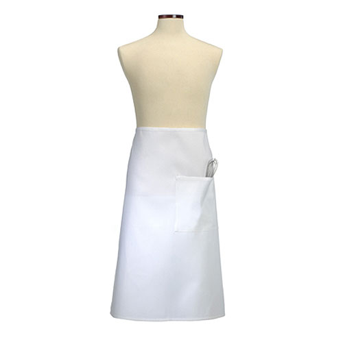 White Full Bistro Apron with Divided Pocket