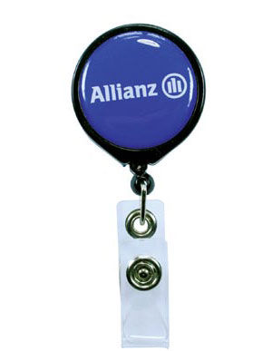 Pull Reel / Badge Reel with Belt Clip and 1-3/16 diameter round imprint