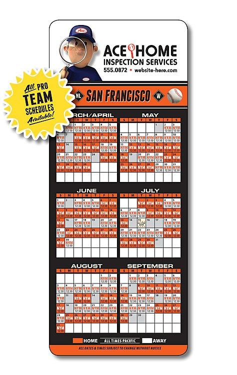 Sports Laminated Card 35x85 Baseball Schedules