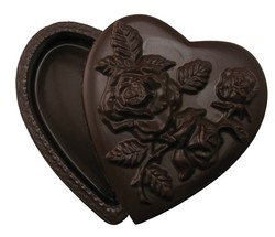 CHOCOLATE HEART BOX XL WITH ROSE LID