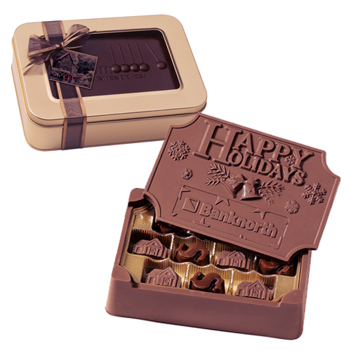 1.25 lb Large Custom Chocolate Edible Box in Gift Tin