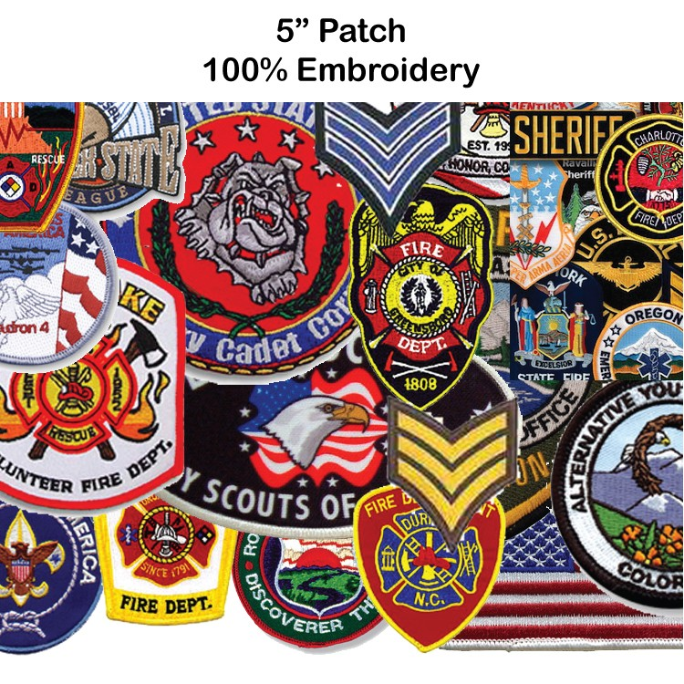 5 Embroidered Patch - 100% Embroidery