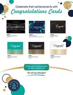 Congratulations card marketing flyer from Warwick