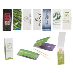 Toothpick Booklet w/7 Toothpicks & 4 Color Process Printing (CMYK)