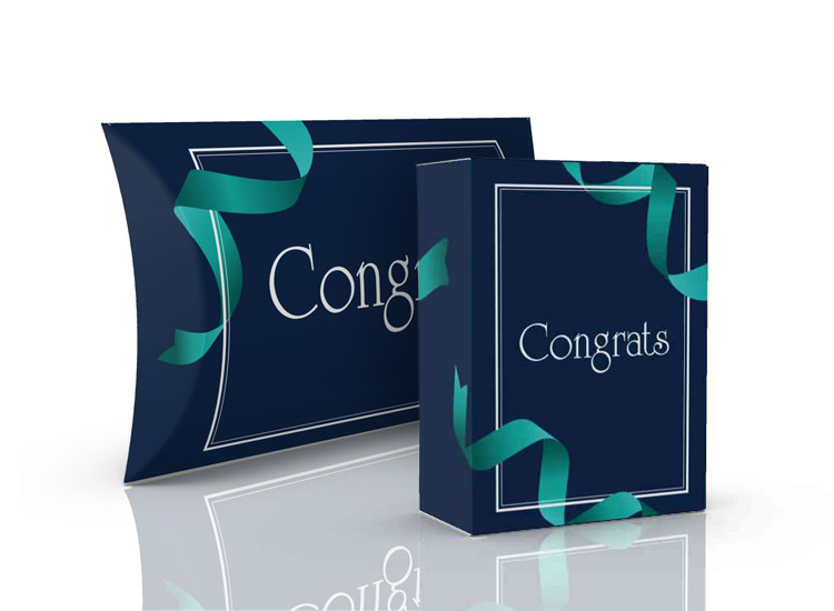 Congratulations themed packaging, tuck boxes, pillow packs